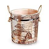 Zarenhoff Saunakübel aus Linden-Holz mit Birkenrinde Muster und Seilgriff Banja Sauna Eimer Kübel mit mit Kunststoffeinsatz - Aufgusseimer Saunazubehör Set Saunaeimer mit Muster 13 L