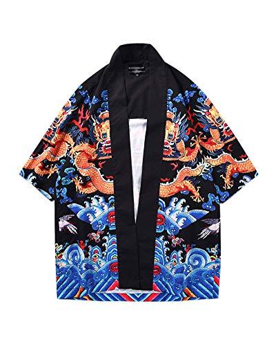 Hombre Camisa Kimono Hippie Cloak Estilo Japonés Estampado Holgado Manga 3/4 Cardigan 811010 L