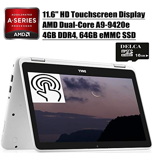 Dell Inspiron 11 3000 2 in 1 Laptop 2020 Premium I 11.6' HD Touchscreen Display I AMD A9-9420e I 4GB DDR4 64GB eMMC Storage I Graphics with AMD APU CameraWiFi HDMI Win 10
