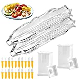 GeiSerailie 24 Pieces Corn Butter Spreader Sets, Include 20 Stainless Steel Corn Holders 2 Plastic Corn Trays and 2 Butter Spreader for Barbecue Twin Prong Home Cooking Fork