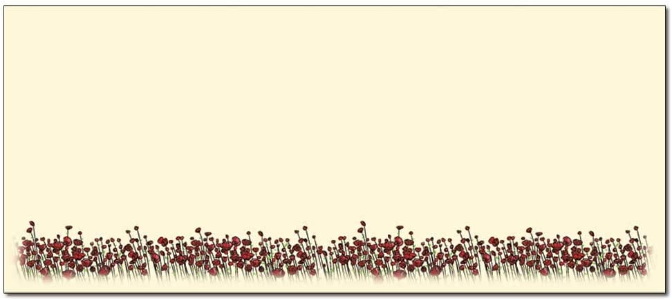 Red Poppies List price Floral Envelope Limited price Envelopes 50
