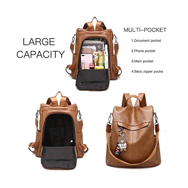 51RJT6cjQRL. SS600  - Mochila de las mujeres antirrobo impermeable mochila casual monedero de cuero de la PU bolsa de hombro de la escuela ligera