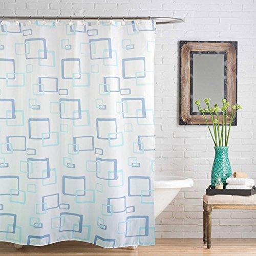 Linens Limited - Duschvorhang mit Quadrat-Muster - Blau - 180 x 180 cm