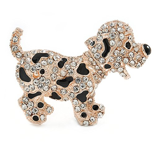 Avalaya - spilla a forma di cucciolo di dalmata felice, colore del metallo: oro rosa, 55 mm