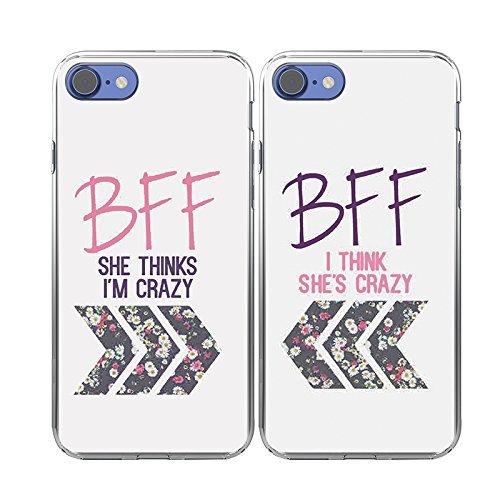 iPhone 8 Case-TTOTT 2X Cases Floral Best Friend Couple Cases Matching BFF 2 Pieces I