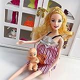 adfafw Poupée Enceinte Maman, poupée Enceinte Costume Maman poupée et Robe - Avoir Un bébé dans Son Ventre pour Barbie - poupées avec des Tenues Filles Faire Semblant de Jouer Jouet Cadeaux Adorable
