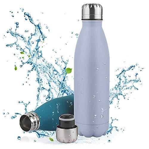 Botella de Agua Acero Inoxidable-350 500 750ml,Aislada al Vacío de Conserva Frío Doble Pared,sin BPA Botella Agua Deporte,Resistencia al Rayado, fácil de Limpiar,Reutilizable para Colegio, Sport,Yoga