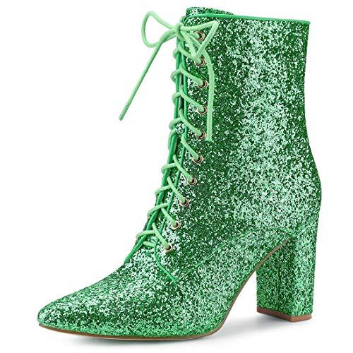 Allegra K Women's Glitter Pointed Toe Block Heel Green Ankle Boots 9 M US