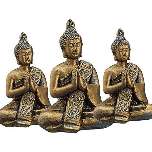 Buddha Gold sitzend 3er Set Skulptur Statue Gartenfigur Feng Shui zur Gartendekoration (1 x 3er Set Buddha 10 cm)