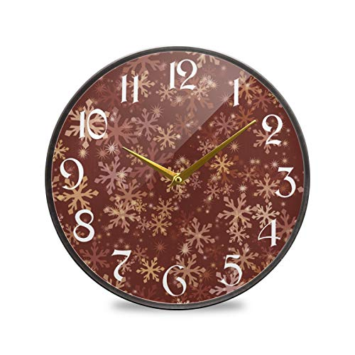 ART VVIES Reloj de Pared Redondo de 12 Pulgadas Que no Hace tictac silencioso Funciona con Pilas Oficina Cocina Dormitorio decoración del hogar-patrón de Copo de Nieve