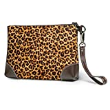 GLGFashion Carteras de cuero para mujer Leopard Print Animal Skin Women's Leather Wristlet Clutch Purses Portable Makeup Cosmetic Bag Handbag Organizer Wallet With Zipper For Women Girls