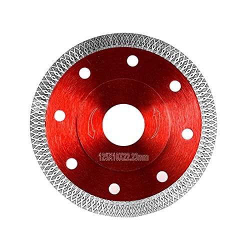 Disco de corte de diamante, profesional, para azulejos, gres porcelánico, 125 mm, para cortar todos los materiales de construcción, hormigón, piedra natural, piedra, cabra (125 x 10 x 22,23 mm/rojo)