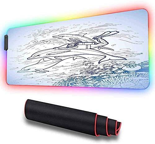 Alfombrilla de ratón suave RGB para juegos, grande, dibujo de una aleta de sujeción de buceo ratón RGB extendida movimientos más rápidos del ratón, base de goma antideslizante 900x400x30 mm