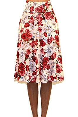 Vivicastle Women's Basic Fold-Over A-Line Midi Knee Length Flare Skirt - Made in USA