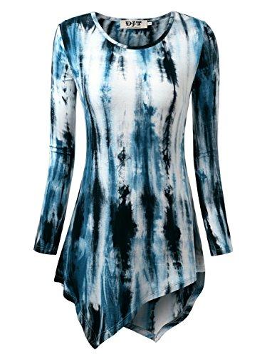 DJT Women's Tie Dyed Hankerchief Hemline Tunic Top XX-Large Tie-Dye Blue