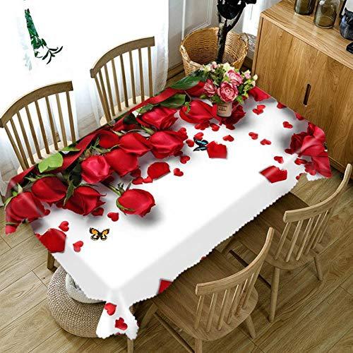 Viner Aanpasbaar 3D tafelkleed Kleurrijk feestelijk bloemenpatroon Wasbaar doek Dikker rechthoekig en rond tafelkleed, A, 140 X 180cm