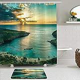 LISNIANY Conjunto De Ducha Cortina Alfombra,Salida del Sol sobre la bahía de Hanauma Oahu Hawaii Rayos de Sol a través de Las Nubes Costa,Uso en baño, Hotel