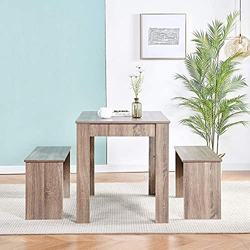Space Saving 3Pcs Dining Table+2 Benches Set for Dining Room Kitchen, Wooden Dining Table and Bench Set for Small Space, Dining Room Table and Chairs