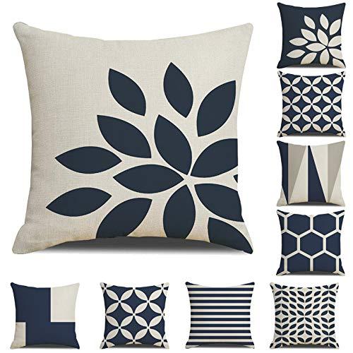 Geometría - Funda de cojín decorativa moderna de algodón y lino con cremallera invisible, 45 x 45 cm, funda para cojines, coche para sofá, cama, decoración del hogar, sofá (9,45 x 45 cm)