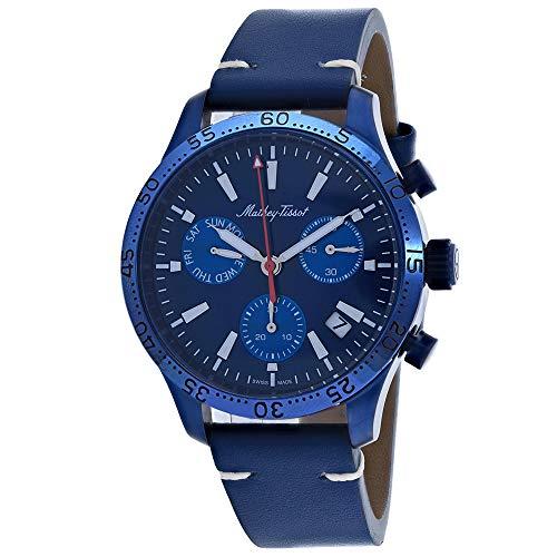 Mathey-Tissot H1822CHLBU - Reloj cronógrafo de cuarzo para hombre (esfera azul)
