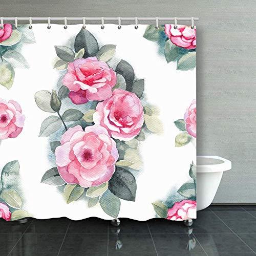 BGNHG Cortina de la Ducha Shower Curtain Watercolor Wild Rose Flowers