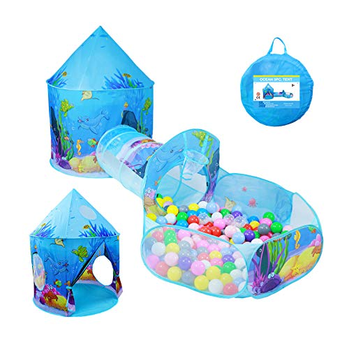 MOMOKIDS 3pcs Kids Ball Pit Tents and Play Tunnel,Ocean Play Tent for Kids with Zippered Storage Bag,Great Toddles & Girls & Kids Toys Used for Outdoor &Indoor.(Ball Not Included)