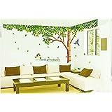 (ロキリフ) ウォールステッカー 樹木 & 新緑 & 鳥 (仕上296x225cm)(シール 壁紙 インテリア ステッカー リビング)
