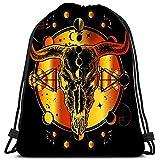 Valender Sac à Dos à Cordon Bison Skull Native American Bull Symbole de la Connaissance secrète Shamanism Soul Prairies Against Durable