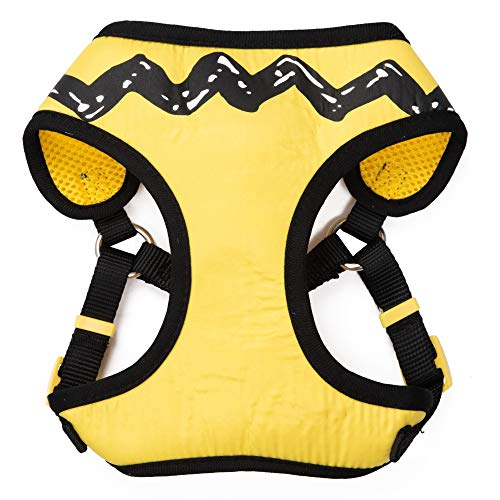 Peanuts for Pets Charlie Brown Yellow Dog Harness, Size Small | Small Striped Dog Harnesses for Small Dogs | No Pull Dog Harness, Dog Apparel & Accessories for All Dogs (FF15722)