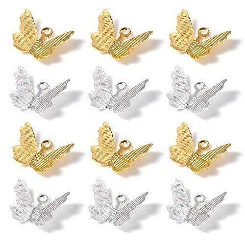 Nifocc Colgantes de latón con diseño de mariposa, para hacer collares, pulseras, pendientes,...