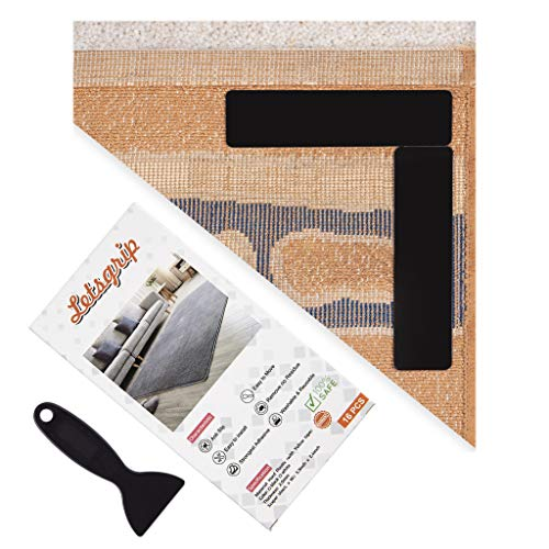 Rugs Grippers, 16 PCS Premium Large Size Anti Curling Rug Gripper. Keeps Your Rug in Place and Makes Corner Flat. 2XAdhesive for Any Rug with Yellow Tape Technology, RenewableSticky Side to Floors