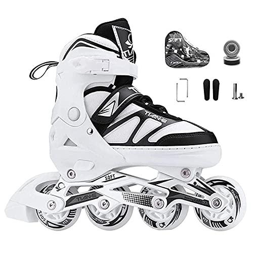 2021 Inline Skates Für Kinder Und Erwachsene, Inline-Skates mit leuchtenden Rädern, ABEC-7 Chrome Kugellager Einstellbare Unisex Fitness Skates für Erwachsene Anfänger mädchen Jungen-weiß_XL(42-45)