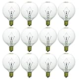 Sunlite 40153-SU G16.5 Globe Light Bulbs 25 Watts, Candelabra Base (E12), 120 Volt, Incandescent, Dimmable, 12 Pack, 32K - Warm White, 12 Count