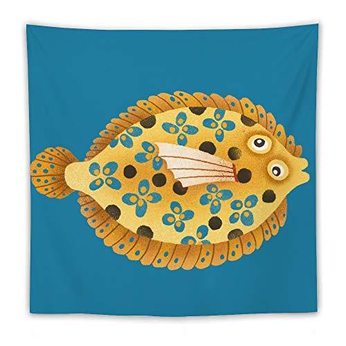DKISEE Tapices de calidad para colgar en la pared, ilustración de peces, impresión de manta, tapiz para sala de estar, dormitorio, decoración del hogar, 60 x 60 pulgadas
