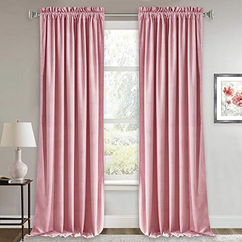 RYB HOME Velvet Curtains for Living Room - Thermal Insulated Curtain Panels for Girls Room Nursery Velvet Drapes Privacy Protected Window Treatments, 52 x 96 inch, Blush Pink, 2 Pcs