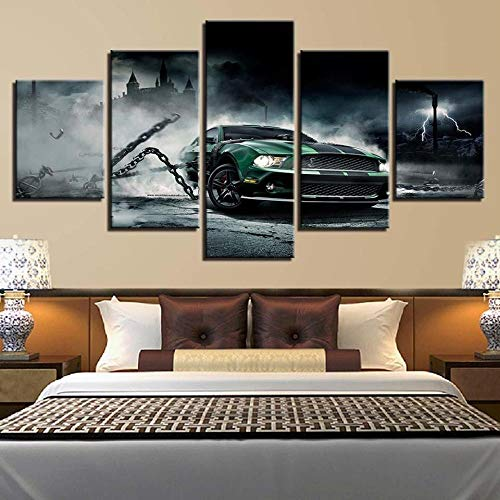 VKEXVDR 5 Piezas Lienzo Grandes murales 5 Partes Impresión Artística Imagen Vintage Retro Car 3 – Automative Moderno Sala Decorativos para el hogar-Sin Marco-150 * 80cm