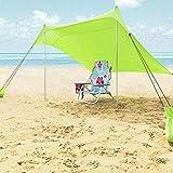 Tienda de campaña Tents Beach con Ancla de Arena, Toldo Sombrilla de Playa Resistente al Viento -...