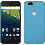 PhoneNatic Hülle kompatibel mit Google Nexus 6P - Hülle hellblau gummiert Hard-case + 2 Schutzfolien