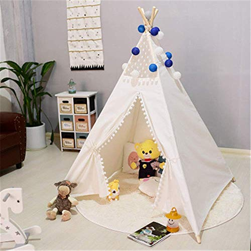 MLL Play Tents for Girls Kids Teepee Tent Indian Play Tent Lace And Pompom Ball Design Foldable Cotton Canvas Teepee Tent Room Decoration Playhouse