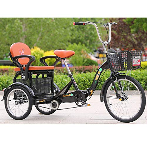 ZNND Bicicletas reclinadas 3 Ruedas Triciclos Plegables para Personas Mayores Adultos Triciclo Crucero con Cesta De Carga para Adultos Ocio Picnics Y Compras Bicicletas De Pedales (Color : Black)
