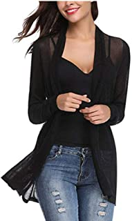 Guy Eugendssg Women Knitted Cardigan Open Front Long Sleeve Jumper Warm Black Mesh Sweater Air-Conditioned