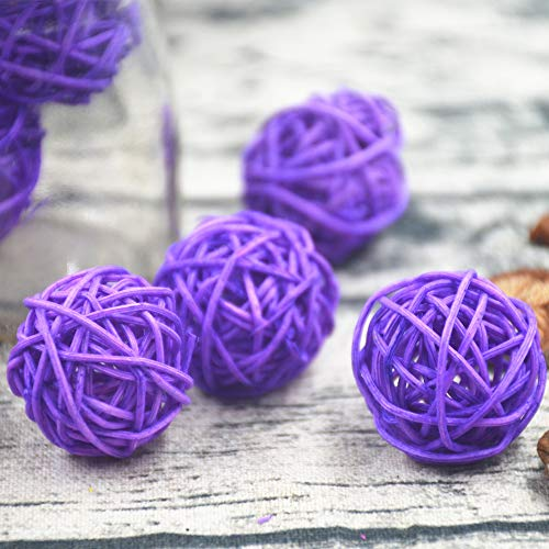 Worldoor 12 Pieces Wicker Rattan Balls Decorative Orbs Vase Fillers for Craft, Party, Wedding Table Decoration, Baby Shower, Aromatherapy Accessories (1.57 Inch,Lavender)