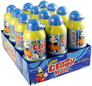 LUCAS CRAZY HAIR BLUE RASPBERRY SOUR CANDY 1.41 oz Each ( 12 in a Pack )