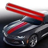 TOMALL 50.8'x 9.5' Calcomanía a Rayas para capó de Coche Auto Racing Body Stripe Lateral Calcomanía Falda Techo Bumpe Calcomanía Vinilo Modificado Calcomanía de Rayas Decoración para Coche (Rojo)