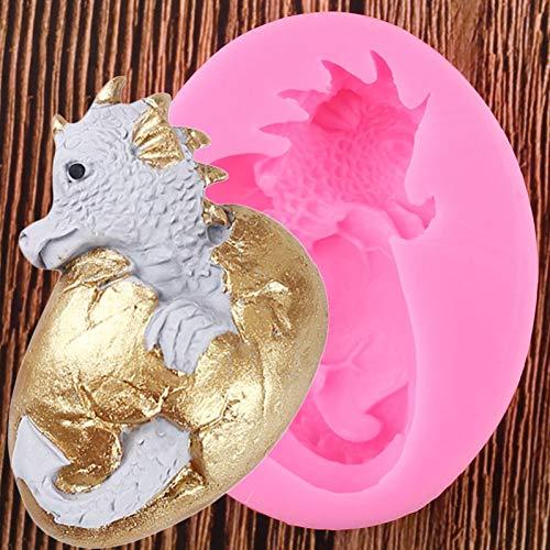 YCEOT 3D dragón Dinosaurio Huevo de Pascua Fondant Pastel moldes de Silicona ResinaMolde deArcillaHerramientas de decoración de Pasteles Dulces moldes de Chocolate