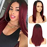 SPOTLIGHT Straight Lace Front Wigs Human Hair 18 Inch Black Root Burgundy Human Hair Wigs with Baby Hair for Black Women 130% Density(TT1B/99J Color)
