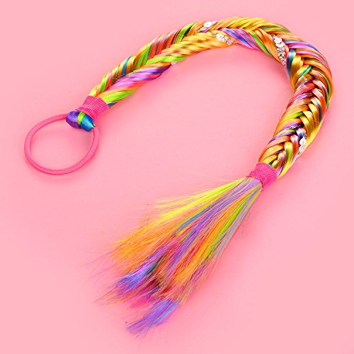 Lux Accessories Halloween Rainbow Sequin Fishtail Braid Synthetic Hair Ponytail 2