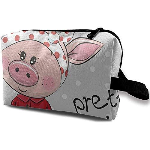 Voyage Cosmétique Sac Portable Sac À Main Rose Porc Trousse De Toilette Petit Maquillage Sacs Cas Organisateur