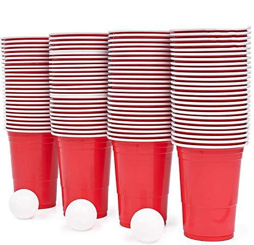 115 Piezas Juego de Beer Pong| 100 Vasos de Plástico Rojo, 15...