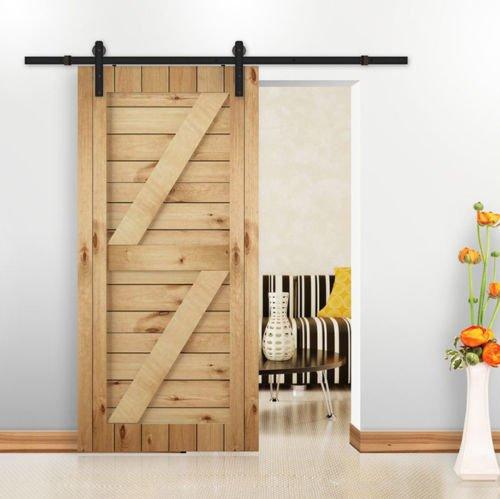 SKIESOAR - Kit di binario porta scorrevole, 1,8 m/2 m, ferramenta grande ruota nera per porta scorrevole sospesa, in legno, per armadio, guardaroba, guardaroba industriale